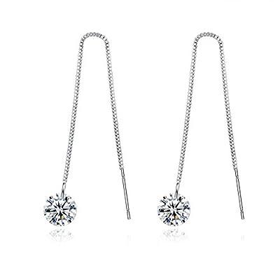 Spiritlele Elegant Crystal Threader Earrings Teardrop Wave Ear Line Long Dangling Earrings for Women Girls