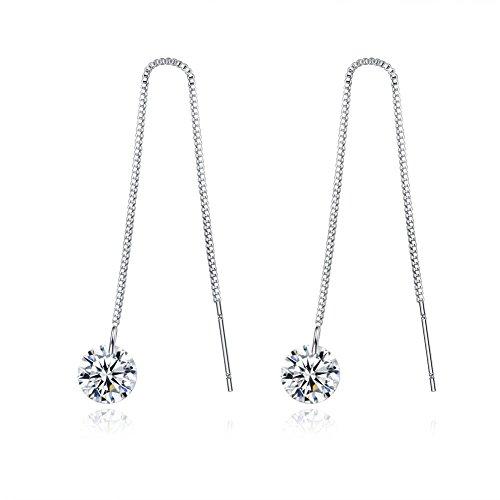 Elegant Womens Earring (Spiritlele Elegant Crystal Threader AAA CZ Drop Dangling Long Line Earrings for Women)
