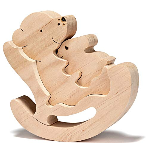 (JNTAR Bear Family Wooden Puzzle for Kids Wooden Educational Shape Puzzle Zoo Blocks Wooden 3D Puzzle Wood Toy for Children Development Jigsaw Puzzle Brain Teaser for Kids, Non-Toxic)