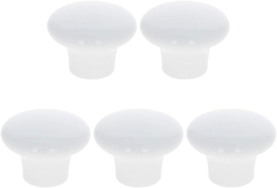 MroMax Vintage Ceramic Door Knobs Round Shape Drawer Cupboard Locker Pulls Handles Wardrobe Drawer Cabinet Home Kitchen Hardware, White 5pcs