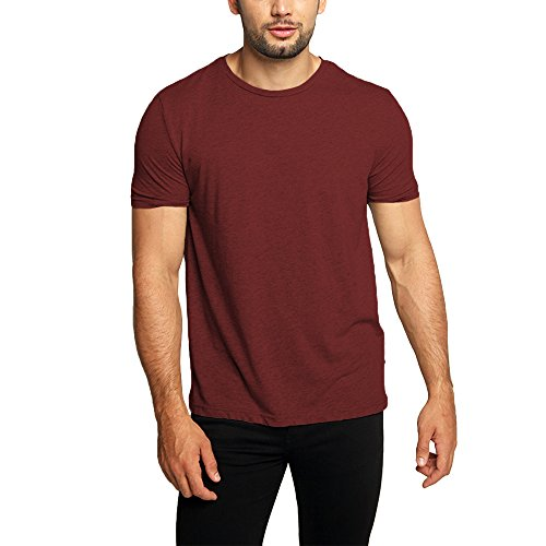 OA Men's Super Longline T-Shirt With Stepped Hem In Wine Red (Red Super Soft T-shirt)