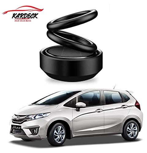 Kardeck Solar Energy Rotating Car Perfume with Long Lasting French Organic Fragrance, Feel-Good Premium Car Air freshener for Jazz-Black