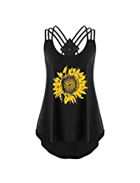 TOPUNDER Women Sunflower Print Sleeveless Bandages Vest Top Strappy Tank Tops