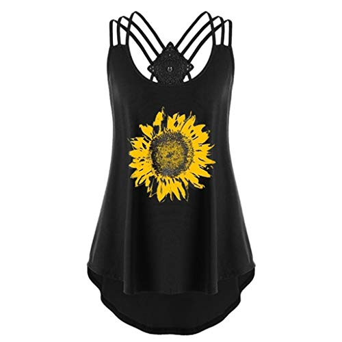 (JustWin Women Sunflower Print Sleeveless Bandages Cross Crossover Tank Casual Bell Slim Fit Strappy Tank Tops Black)