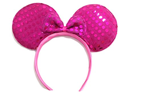 Price comparison product image MeeTHan Mickey Mouse Minnie Mouse Ears Headband Sequin : M1 (Sequin Pink2)