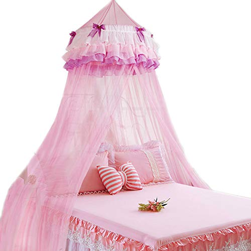 HugeHug Pink Princess Triple Ruffle Lace Dome Hanging Bed Canopy Hoop Mosquito Net with Butterfly Decorations for Baby Girls Crib Twin Full Queen Size