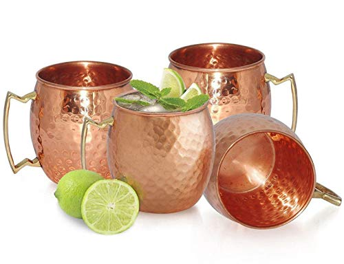 Chefs Star Set of 4 Handmade Hammered Copper Moscow Mule Mug - 100% Pure Copper with Brass Handle - Hammered Moscow Mule Mug Cup 18OZ