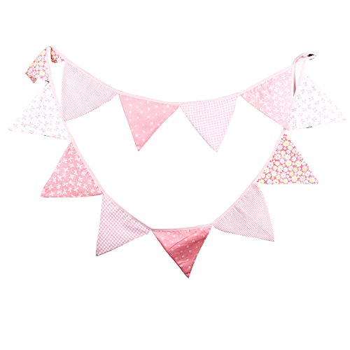 INFEI Pink Tone Fabric Flag Buntings Garlands Wedding Birthday Party Decoration