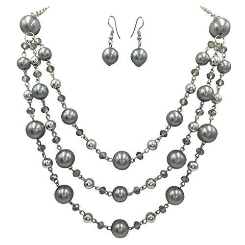 - Gypsy Jewels 3 Row Layered Imitation Pearl Beaded Necklace and Dangle Earrings Set (Silver Tone Grey)
