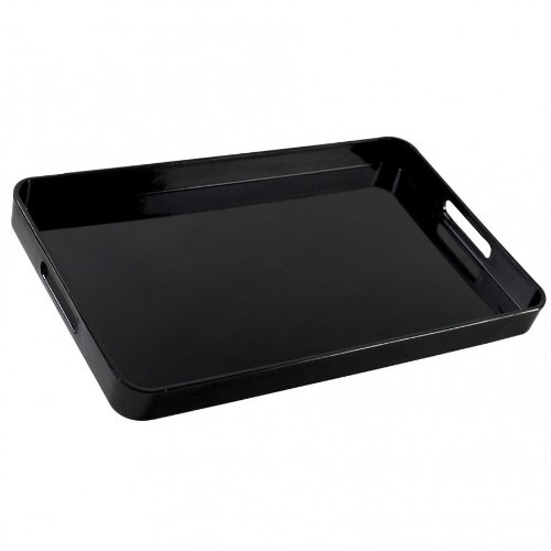 10 Strawberry Street BLK-REC Black 19 1/4'' x 12'' Rectangular Lacquer Serving Tray - 8/Case