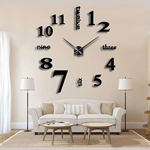 Relojes de pared decorativos 3D espejados negro
