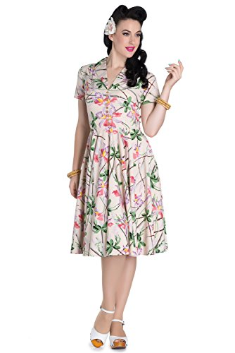 Hell Bunny Paradise Bamboo Floral Vintage Pinup Retro Dress (US 14)