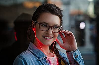 Glow in-Ear Headphones, High Visibility Lasers, Inline Microphone, App Enabled 5-Way Smart Controller, Earbuds for Apple and Android Devices - Red