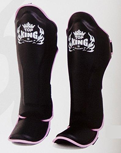 MMABLAST TOP King Professional Genuine Leather SHIN Guards - TKSGP-GL -Black W/Pink Trim