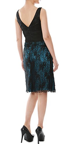 MACloth Women V Neck Short Lace Mother of Bride Dress Cocktail Formal Gown Teal - Negro