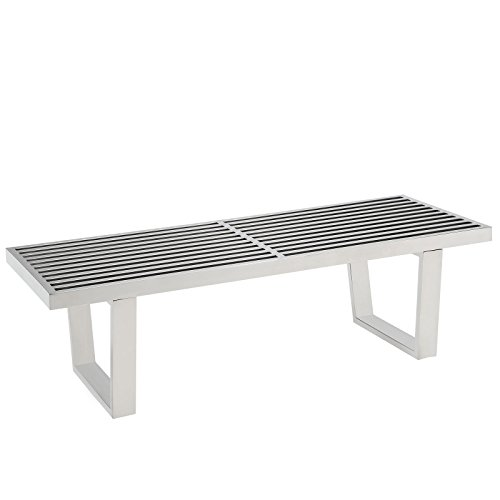 (Modway Sauna Stainless Steel 4' Bench in Silver)