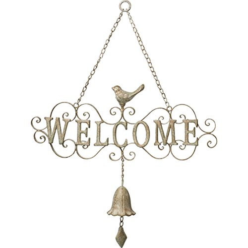 Garden Gifts by Precious Moments 171557 Welcome Bell Decorative Scrollwork Metal Door Hanger With Bell, Bronzed White, 22.5-inch Wide (Welcome Bell)