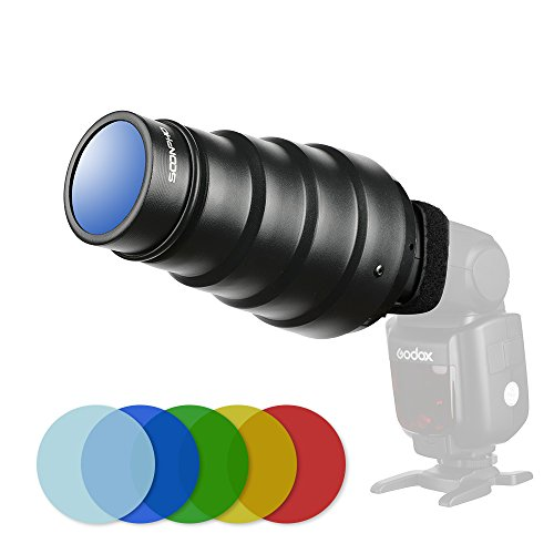 - Soonpho Snoot with Honeycomb Grid 5pcs Color Filter Kit for Speedlight Speedlite Flash Flash Accessories