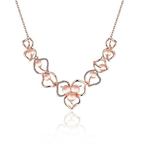 Gold Flower Link (Alipeia Opal Hallow Crystal Lace Flowers Gold/Rose Gold Romantic Link Chain Pendant Necklace (Rose Gold))