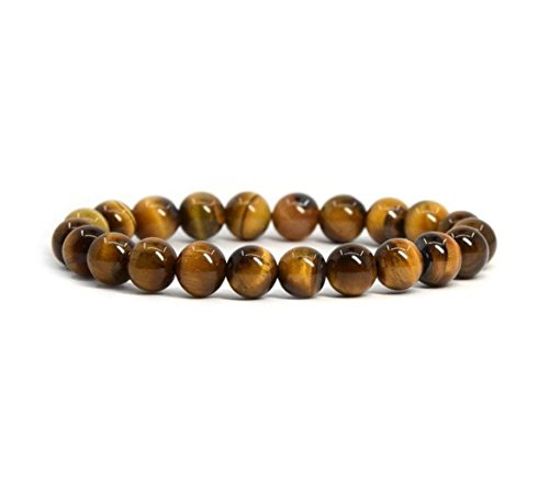 (Natural Tiger's Eye Gemstone Bracelet 7 inch Stretchy Chakra Gems Stones Healing Crystal Great Gifts GB8-26)
