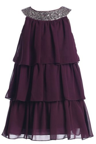 Sweet Kids Little Girls' Triple Tiered Chiffon Dress 4 Plum (Sk 3707) -