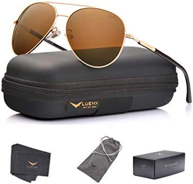 LUENX Mens Aviator Sunglasses Polarized Women : UV 400 Protection shades 60MM