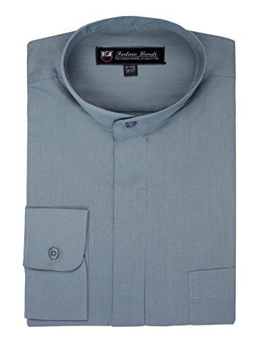 Pique Sleeve Shirt Sport (FORTINO LANDI Men's Long-Sleeve Banded Collar Shirt - Grey 2XL(18-18.5 Neck) Sleeve 34/35)