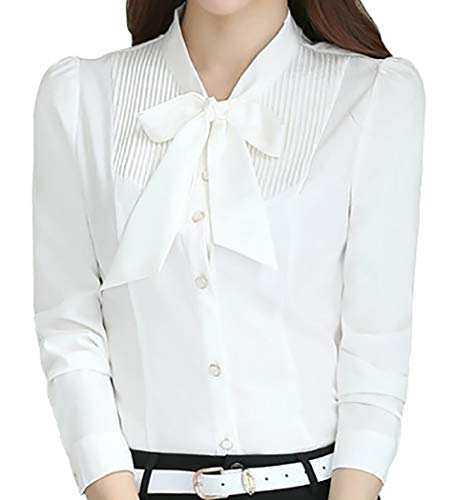 JHVYF Women's Cotton Collared Blouse Button Down Shirts Long Sleeve Tops White US 8(Asian Tag 3XL)