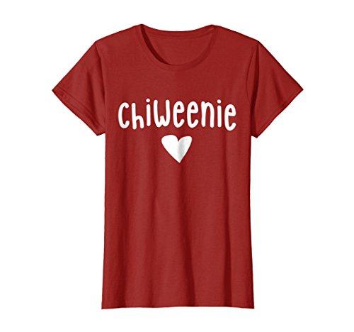 Womens Chiweenie Dog T Shirt, Chihuahua Dachshund Mix Mutt Lover Medium (Medium Cranberry)