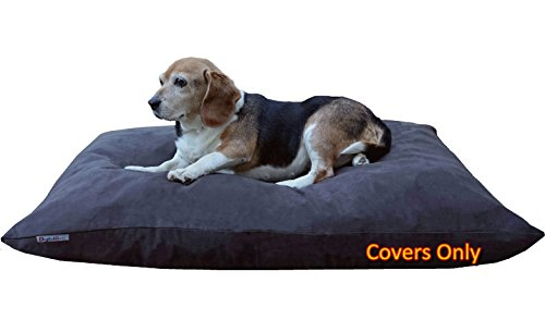 Do It Yourself DIY Pet Bed Pillow Duvet Suede Cover + Waterproof Internal case for Dog/Cat at Medium 36''X29'' Espresso Color - Covers only by Dogbed4less (Image #1)