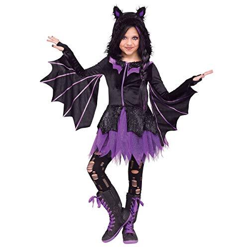 Child Girl Night Flyer Hooded Dress Purple Glitter