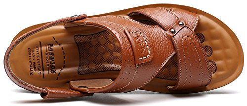 Vocni Mens Leather Casual Outdoor Adult Fashion Comfort Summer Shoes Sandals Yellow Brown CFfYhtvwo