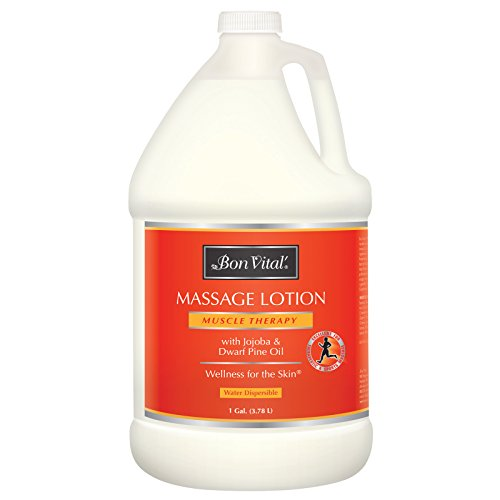 Bon Vital Muscle Therapy Massage Lotion Made with Dwarf Pine Oil and Essential Oils for a Relaxing Massage and Sore Muscle Relief, Aids in Muscle Recovery Through IASTM and Graston, 1 Gallon Bottle
