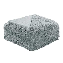Uxcell Solid Faux Fur Queen Size Blanket 78 Inches X 90 Inches Decorative Fuzzy Long Shaggy Blankets Lightweight Long Fur Microfiber Fleece Blanket For Bed Keep Warmth For Years Gray