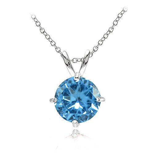 - Sterling Silver Simulated Blue Topaz 7mm Round Solitaire Pendant Necklace