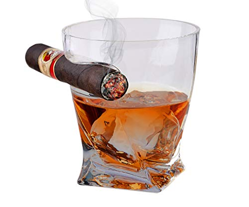 Cigar Holder Glass, Old Fashioned Whiskey Tumbler, Perfect Gift for Spirit and Cigar Lovers