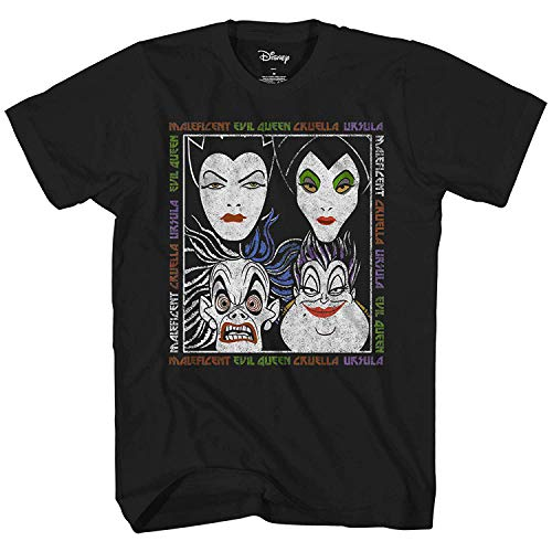 Disney Villains Shirt Adult Faces Name Repeat Graphic T-Shirt (X-Small) Black -