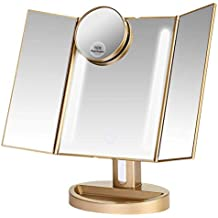 LEJU Makeup Mirror/Natural Daylight Lighted Vanity Mirror with Touch Screen Dimming, Detachable 10X Magnification Spot Mirror, Two Power Supply Mode (Gold)