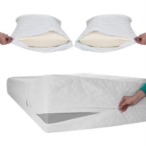 Remedio cama Bug polvo y ácaros algodón colchón y almohada protector-twin: Amazon.es: Hogar