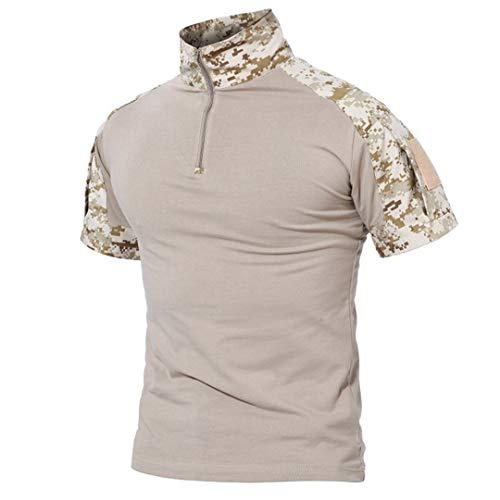 Amlyjun Men's Outdoor Hiking Military Tactical T-Shirt Camouflage Shooting Tee Shirt Sport Hunting Shirt Desert XXL