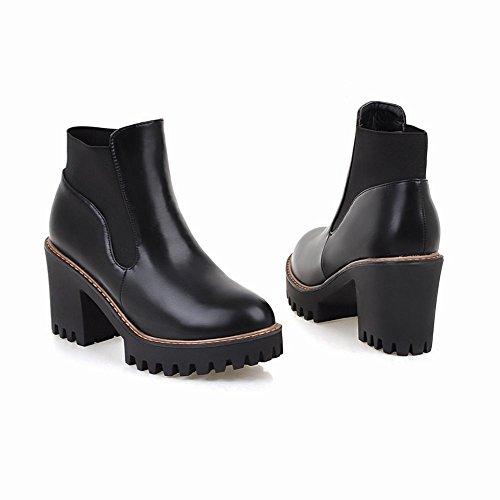 Dames Retro Dameshoge Hak Korte Laarzen Zwart