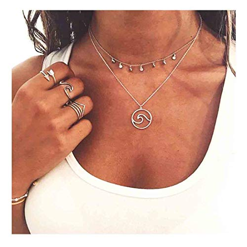 - Yfe Sequins Choker Silver Wave Neckalce Double Layer Pendant Necklaces for Women and Girls Jewelry