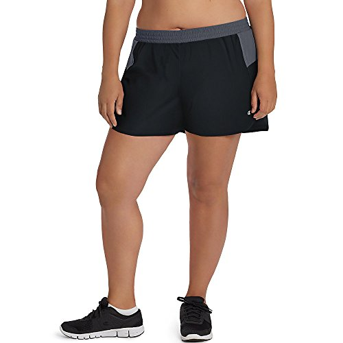 Champion Shorts Size Plus (Champion Women's Plus-Size Sport Short 5, Black/Medium Grey, 3X)