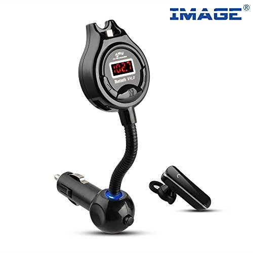 Image Bluetooth Headset With Car Fm Transmitter  Protect Your Privacy  Bluetooth 4 0 Multipoint Handsfree Car Kit  Support 3 5Mm Aux In  With Dual Usb Charger 5V 2 1A  For Iphone Samsung