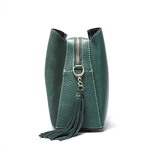 Mulier, Borsa a mano donna, Black (Nero) - HB-087-Black Dark-green