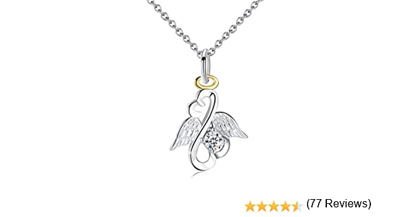 Collar de plata de ley con alas de ángel de la guarda, colgante de ...