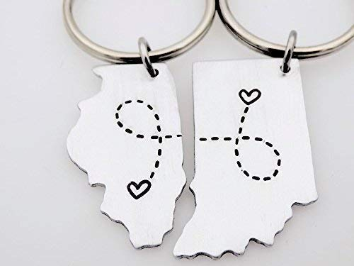 Custom State Keychains, Matching Set, Country, USA, Long Distance Love, Long distance gift for him and her, Moving away gift, Ldr Friends by TheLightandTheDark