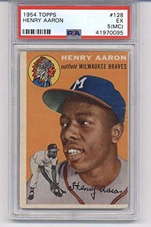 Amazoncom 1954 Topps 128 Hank Aaron Milwaukee Braves