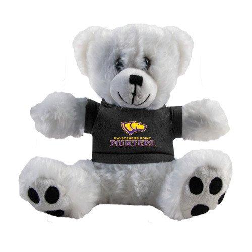 UW Stevens Point Plush Big Paw 8 1/2 inch White Bear w/Black Shirt 'Official Logo' by CollegeFanGear