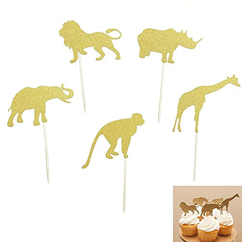 Elephant Monkey Rhino Lion Giraffe Animal Cake Cupcake Toppers for Baby Shower and Birthday Party Decorations, 15 Counts by Shxstore